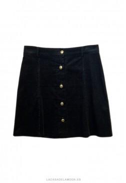 Falda de pana negra corta con botones
