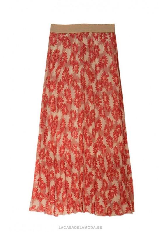 Falda plisada midi estampada