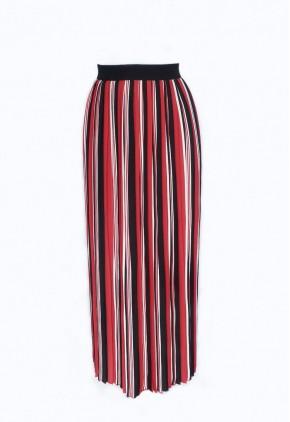 Falda plisada roja negra y blanca.