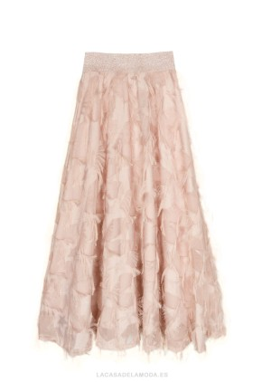 Falda rosa palo larga