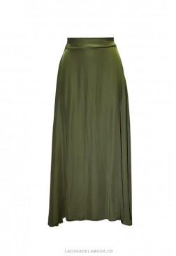 Falda verde militar larga