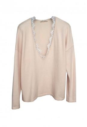 Jersey con encaje blonda en cuello pico y rosa Pale Dogwood de lana con acrílico
