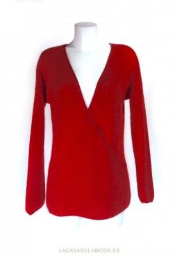 Jersey rojo cruzado cuello pico reversible largo