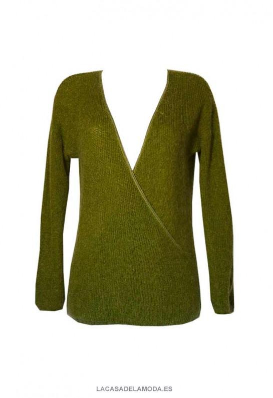 Jersey verde cruzado cuello pico reversible largo