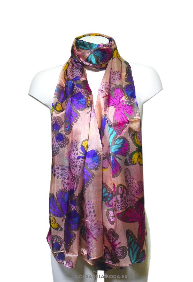 5d22fa77 Pañuelo de seda estampado mariposas grande