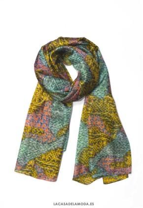 2539642118e Pañuelo estampado grande de seda y colores