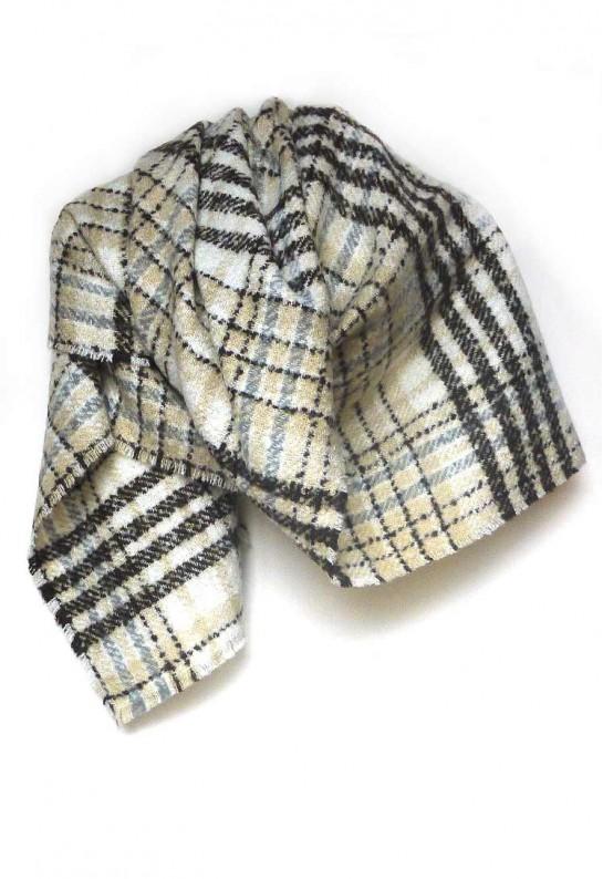 Bufanda cuadros XL marrón ANTIALERGIAS gris camel y blanca