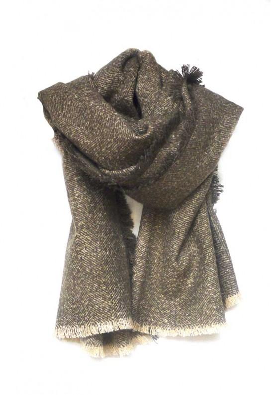 Bufanda grande marrón y beige con flecos