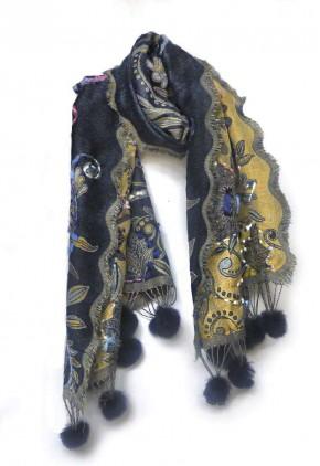 Bufanda lana pompon fina de colores