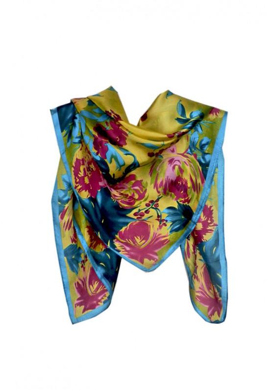 Cuadrado y estampado floral amarillo con turquesa para el cuello