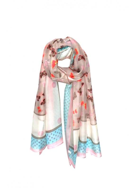 Fular lunares rosa palo y gris de colores bonitos en seda