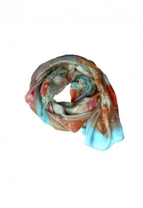 Pañuelo de seda hilada con estampado habitación coqueta