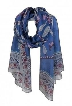 Pañuelo azul Navy Peony de seda estampado