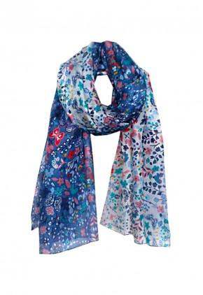 Pañuelo de seda estampado bicolor y rectangular