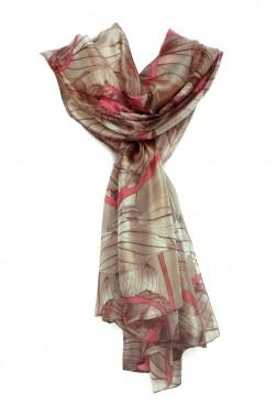 Pañuelo de seda estampado flores tostado y ramas rosa coral
