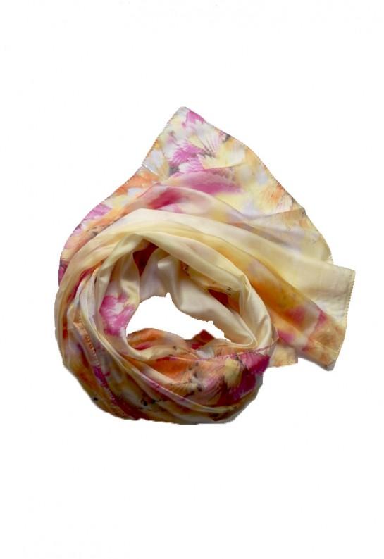 Pañuelo de seda mora amarillo Primrose Yellow y rosa Pink Yarrow