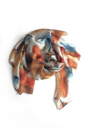 Pañuelo de seda mora estampado hojas Niágara y Hazelnut