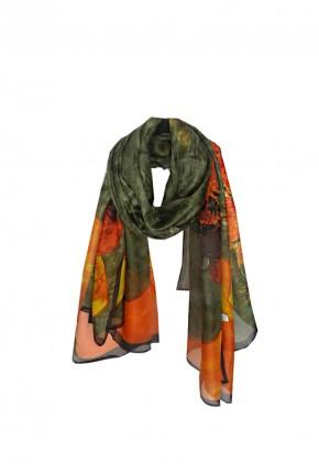 Pañuelo de seda natural estampado girasoles Van Gogh