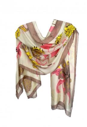 Pañuelo estampado beige con hojas corazón coral y orillo siena