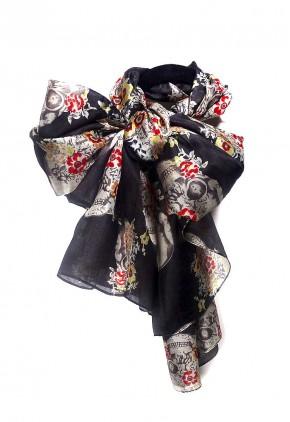 Pañuelo estampado calaveras mejicanas en seda