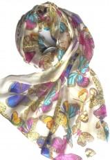 Pañuelo estampado mariposas azul y candelillas amarillo y rosa