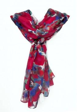 Pañuelo rojo estampado de seda para mujer