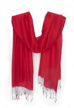 Pañuelo rojo liso seda y viscosa con flecos