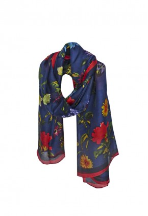 Pañuelo seda azul estampado aves.