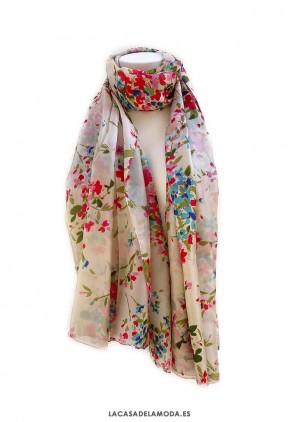 Pañuelo seda grande de flores verde y coral