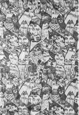 Pañuelo seda Mora estampado Naif con gatos blanco y negro