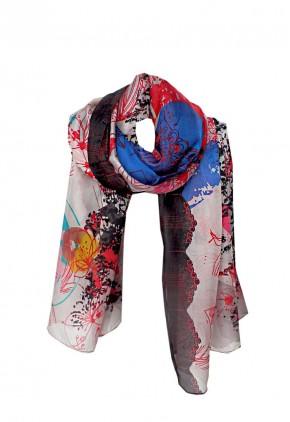 Pañuelo seda natural con dibujos abstractos rojo y negro