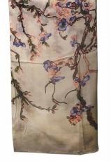 Pañuelo seda violeta rosa verde y beige