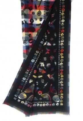 Bufanda lana suave multicolor fantasía
