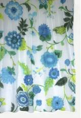 Fular algodón azul y verde flores