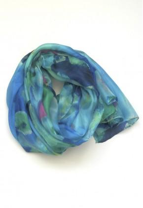 Pañuelo acuarela verde y azul seda.