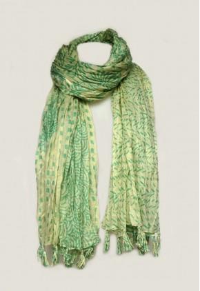 Pañuelo algodón verde con borlas de tela