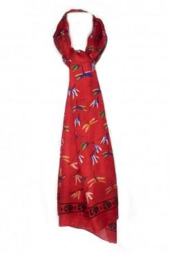 Pañuelo de seda dibujos libélulas.
