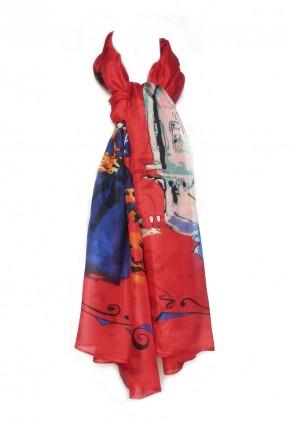 Pañuelo seda rojo con estampado mujer.