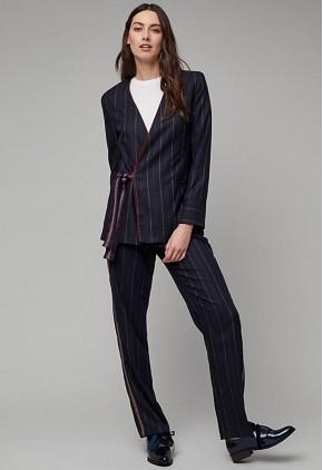 Pantalón con rayas laterales verticales y diplomáticas mujer