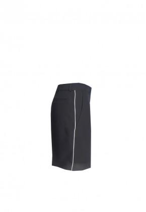 Pantalón corto de vestir negro con vivo blanco deportivo