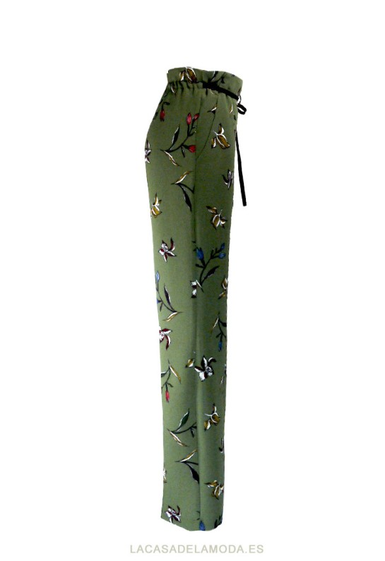 Pantalón estampado floral verde de fiesta u oficina