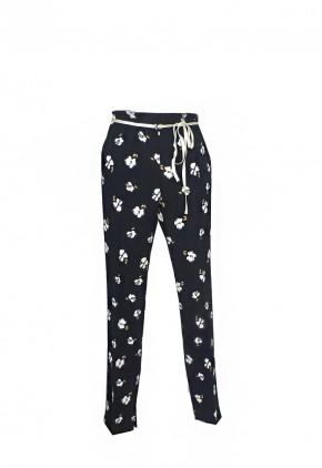 Pantalón para fiesta ancho elegante negro y estampado flores