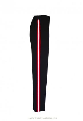 Pantalón raya lateral roja y blanca de color negro