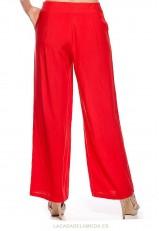 Pantalón rojo palazzo fluído para verano barato