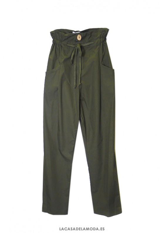 Pantalón verde militar mujer de algodón