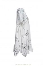 Vestido algodón blanco holgado con manga corta