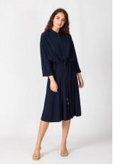 Vestido azul marino midi