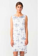 Vestido blanco corto mujer con dibujos