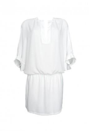 Vestido blanco manga francesa holgada con falda forrada y cuello pico