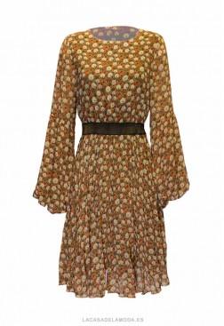 Vestido corto con manga abullonada